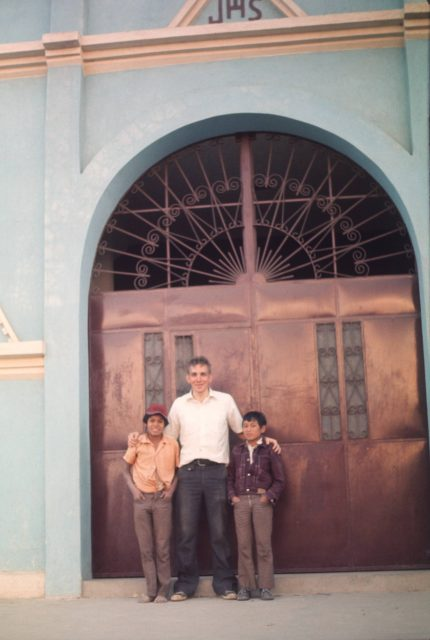 Austin Choc, Elder David Frischknecht, and Cesar at the Calvario in Patzicía