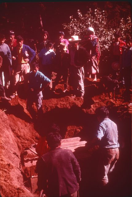 Burying members at the Patzicía cemetery, February 4, 1976.