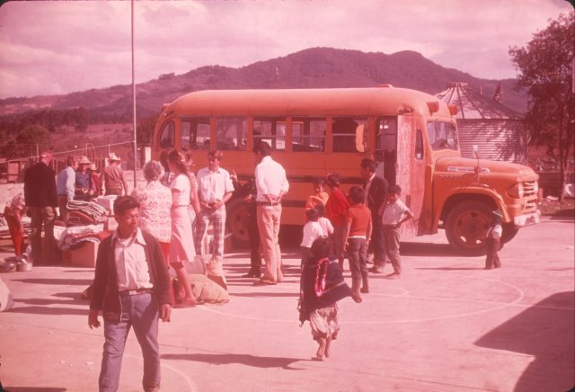 A busload of help arrives in Patzicía from the USA