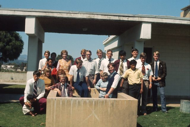 Cakchiquel class in Patzicía, Guatemala, in 1975 for LDS missionaries. Front row (left to right): Milo Garcia, Jenette Blair, Margaret Blair, Greg Martin, Elder Hansen, Lisa Blair, Taz Evans, Hermán Tum.