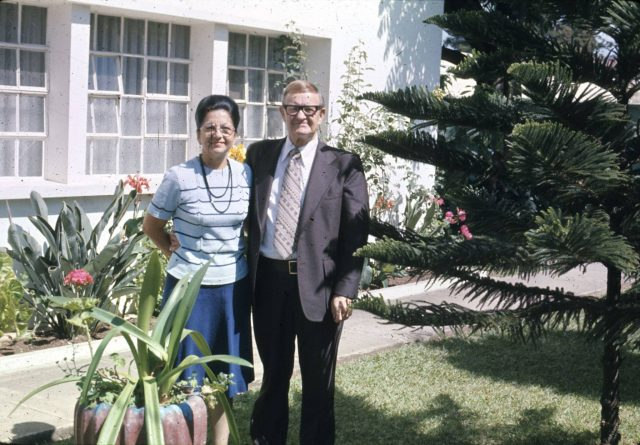 President John Forres O'Donnal and his wife Carmen at the mission office in Guatemala City
