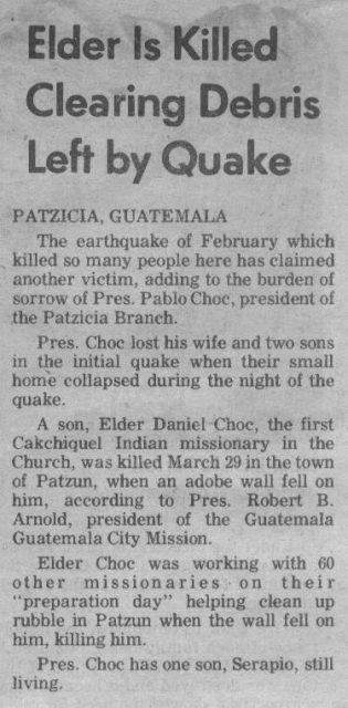 Newspaper article (perhaps Church News?)