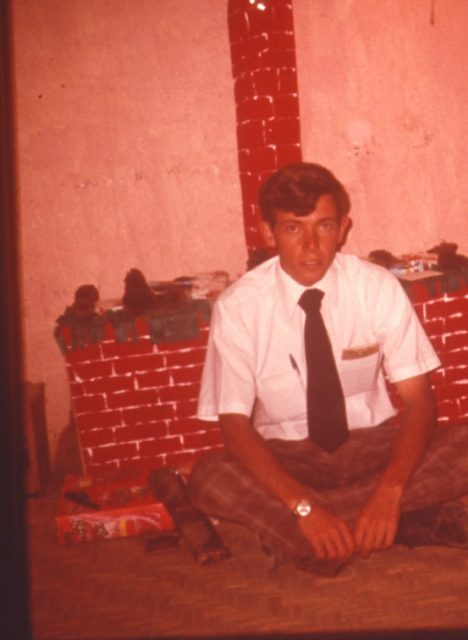 Elder Richman in our room in Comalapa, Christmas 1975