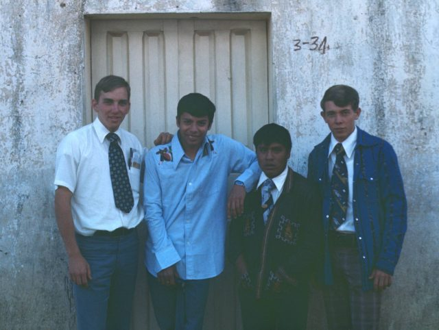 LDS missionaries in Comalapa: Elder Frischknecht, Elder Argueta, Elder Choc, and Elder Richman standing on the street in front of Walter Matzer's house where we rented two rooms.