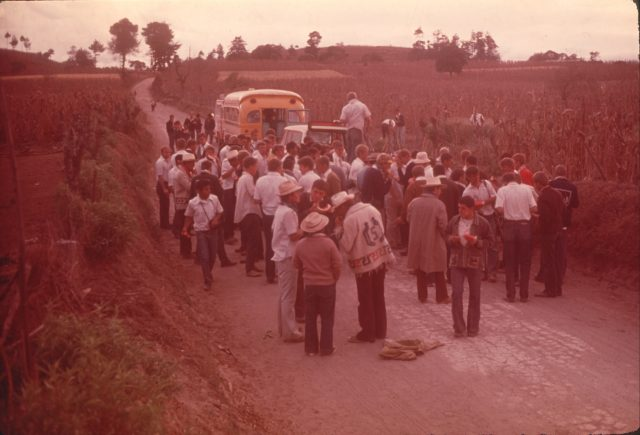 Missionaries stopping for a watermelon break on the road out of Comalapa after the work day. (Elders Evans, Choc, and Frischknecht in foreground)