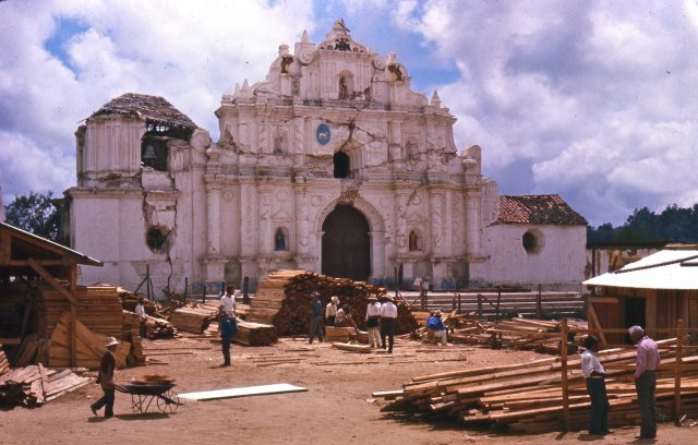 Catholic church in Comalapa a few months after the earthquake
