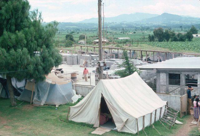 Construction camp making cinderblocks