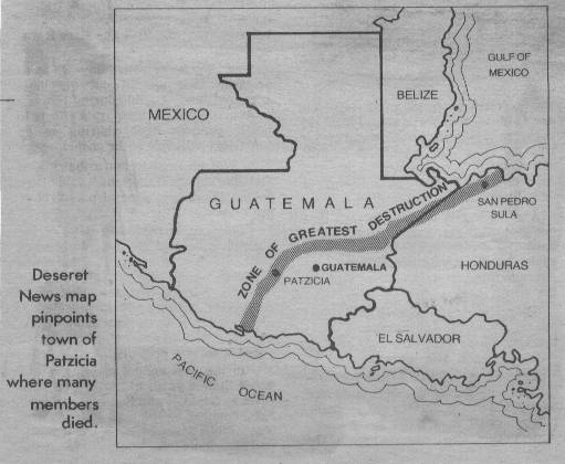 Map of the Guatemalan earthquake in 1976