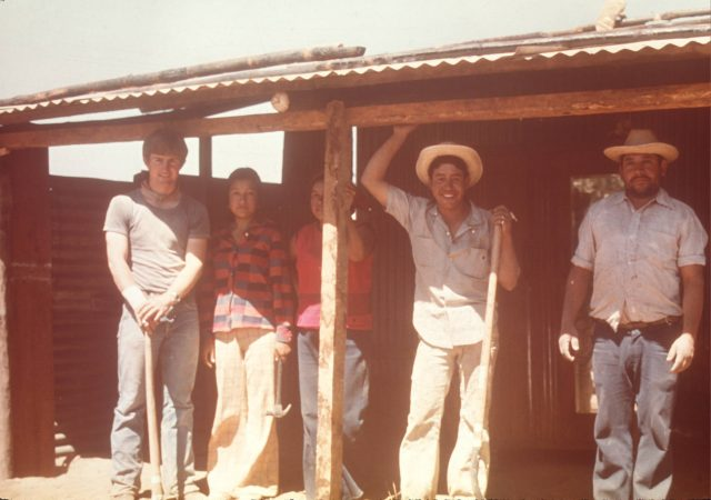 Elder Howard, Eber's sister, Eber's mother, Eber Caranza, and Eber's stepfather in Patzún.