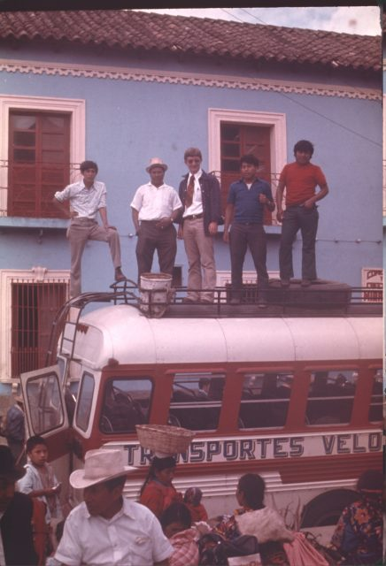 Elder Howard and men on a bus in Tecpán, Guatemala