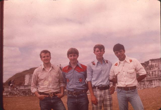 At Zaculeu, February 2, 1976. Elders Robbins, Howard, Richman, and Argueta