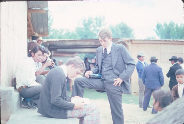 Elder Frischknecht and Elder Richman preparing for a meeting in Itzapa