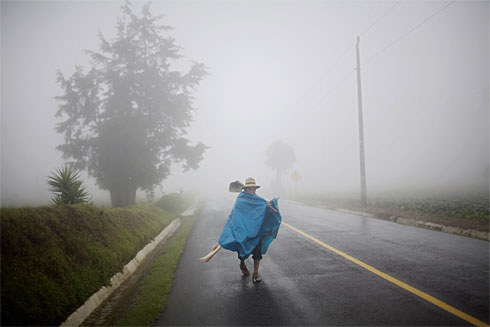 "Patzicía farmer walking in the rain with his ""nylon"""