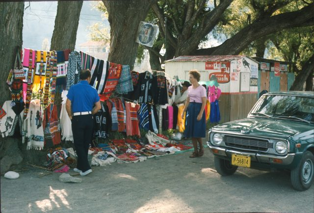 My parents, Lynn and Mary Richman shopping by the side of the road between Los Encuentros and Sololá, Guatemala