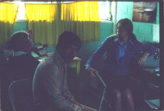 Patzicía translation team, July 1976. Elder Frischknecht, Julio Salazar, and Sister Sharp.
