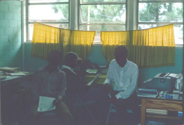Patzicía translation team, July 1976. Julio Salazar, Elder Frischknecht, and Elder Richman.