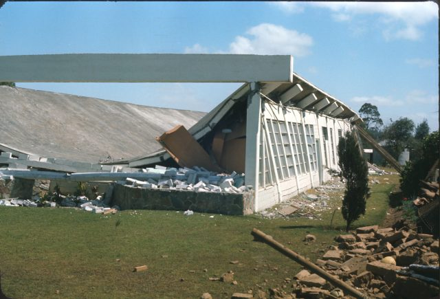 Church in Patzicia, Guatemala after earthquake in 1976