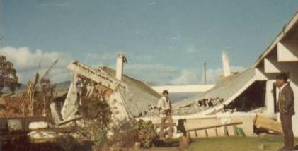 Back of the Patzicía church with Elder Argueta and Elder Choc
