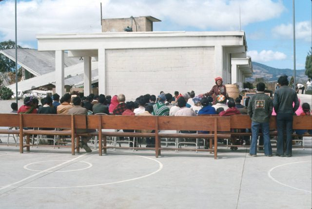 Sunday services outside in Patzicía, Guatemala for the first few weeks