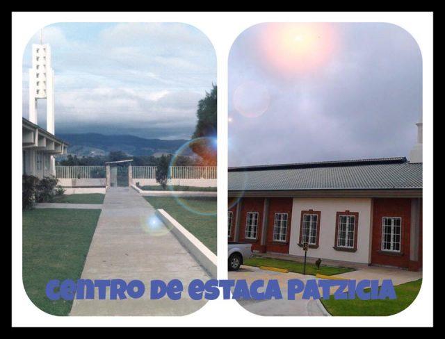 The Patzicía church in 1975 and the stake center in 2015. La capilla de Patzicía en 1975 y el centro de estaca en 2015.