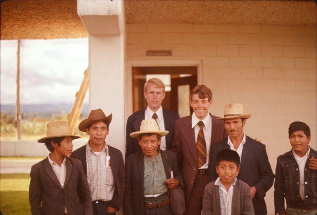Members in Patzicía (left to right): boy, Clemente Alonzo Mich, Mateo Miculax, Elder Jon Call, Elder Larry Richman, Leocadio Per, boy, Martin Per