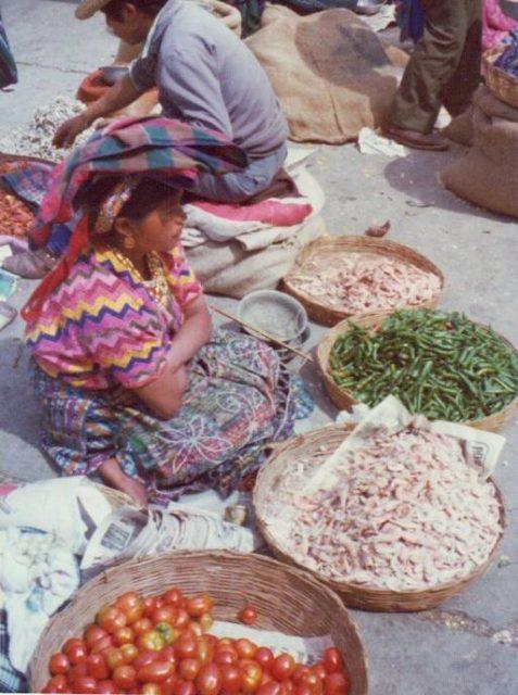 Marketplace in Patzicía, Guatemala, in 1975