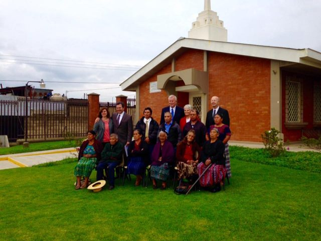 Latter-day Saints in Patzicia. Photo taken October 20, 2015. Front row second from left is Domingo Choc. Second row second from left is the stake president Wilian Miguel Can Macú. Back row: Elder Steven E. Snow and Richard E. Turley.