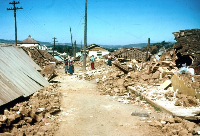 Patzicía, Guatemala days after the earthquake of 1976 (Photo courtesy Michael Morris)