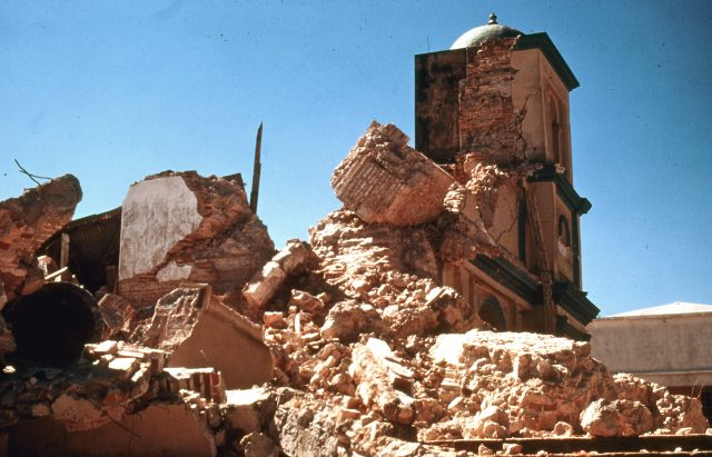 Cathedral in the Patzicía, Guatemala town square days after the earthquake of 1976 (Photo courtesy of Michael Morris)