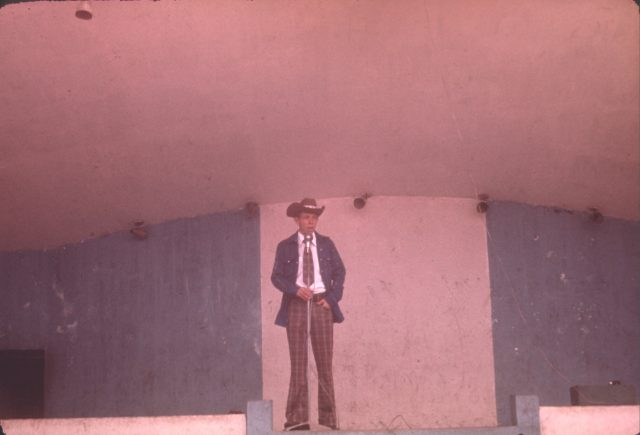 Elder Richman on stage at the Patzún fair, June 26, 1975