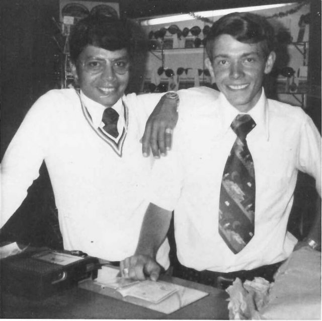 Elder Luis Manuel Argueta and Elder Larry Richman at Alfoto in Guatemala City on Christmas eve 1975