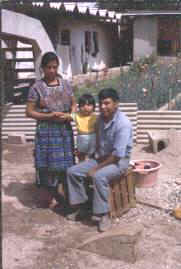 Elena, Nelson, and Rigoberto Miza in their new home in July 1978