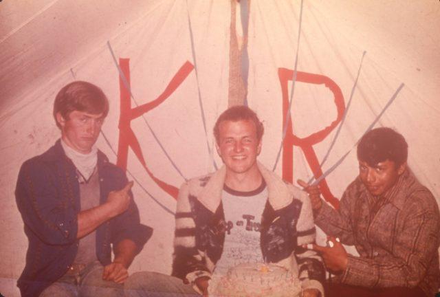 Enjoying a free moment to celebrate Elder Kelly Robbins' birthday. Elders Howard, Robbins, Argueta