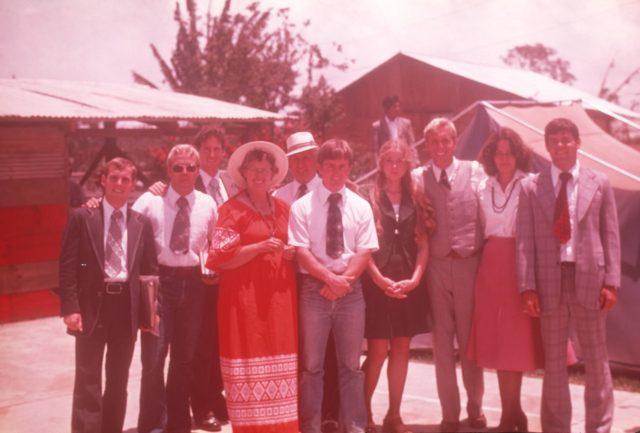 Elder Wait, Elder Worthington, Elder Bernhardt, Sister Powell, Brother Powell, Elder Howard, Sister Sharp, Elder Schmolinger, Sister Hyer, and Elder Warnock.