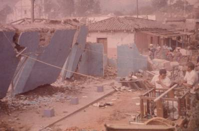 Wall being pulled down in Guatemala
