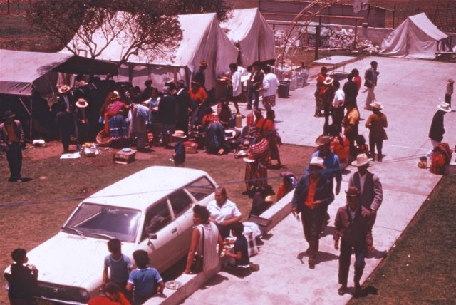 Tent city at the Patzicía church for the construction missionaries