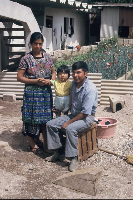 Elena and Rigoberto Miza and Lery Nelson Miza in their new house in Comalapa in July 1978