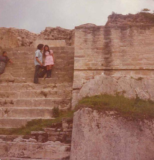 Fulgencio Choy and a girl at Iximche