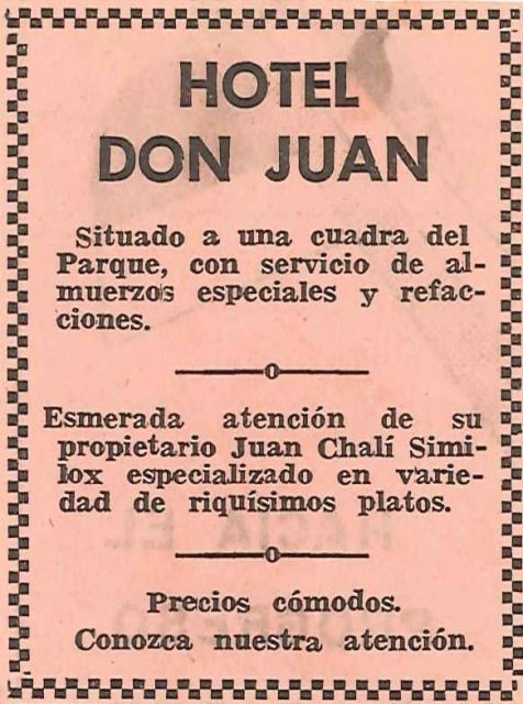 An ad for the Hotel Don Juan in the local paper