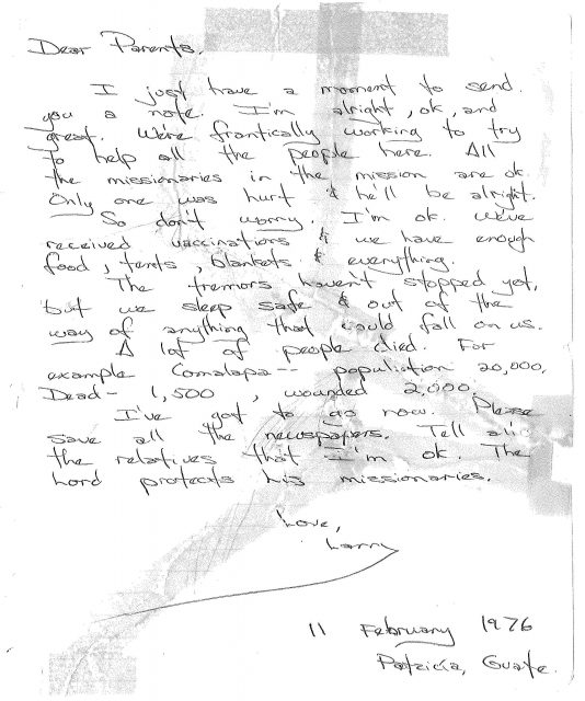 Another letter home February 11, 1976.