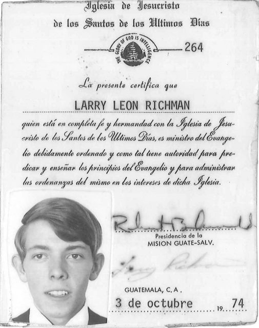 Elder Larry Richman's missionary ID card