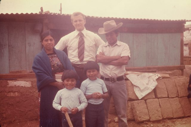 Miza family with Elder Kelly Robbins: Maria Elena Miza, Rigoberto Miza, Hugo Miza, and Noe Miza