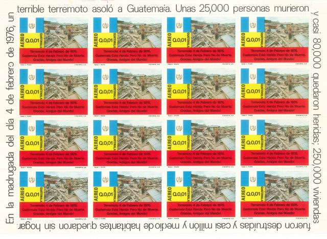 Postage stamps were later issued commemorating the earthquake