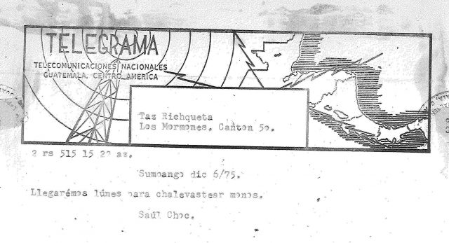 Telegram from Elders Frischknecht and Choc in Sumpango to Elders Taz Evans, Larry Richman, and Manuel Argueta in Comalapa