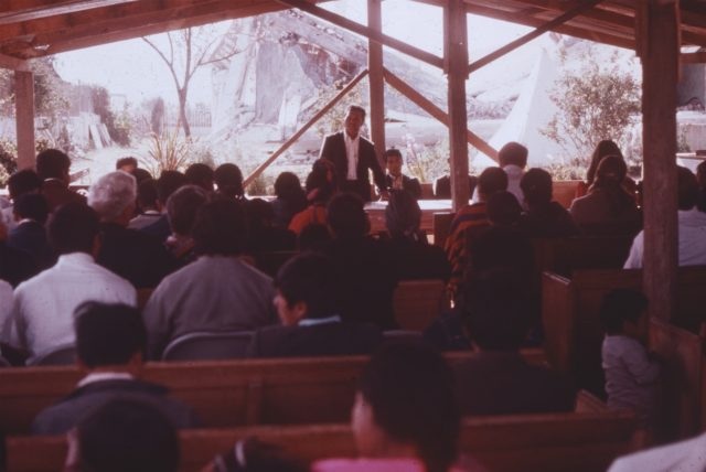 Services inside the temporary church where meetings were held in Patzicia, Guatemala until the new chapel was rebuilt